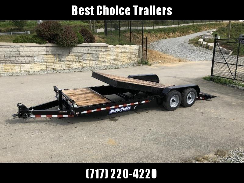 "2020 Sure Trac Gravity Tilt Equipment Trailer 7'X18+4' 16000# * 8"" TONGUE/FRAME * HD NOSEPLATE COUPLER * 12K JACK * OAK DECK"