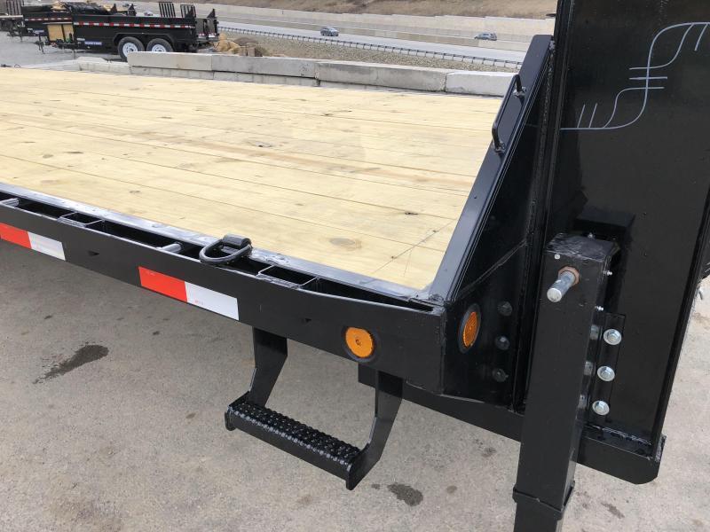 2019 Ironbull 102x20+5' Gooseneck Beavertail Flatbed Deckover  14000# GVW * 2 Flipover Ramps * I-BEAM FRAME * RUBRAIL/STAKE POCKETS/PIPE SPOOLS/D-RINGS * DUAL JACKS * FULL TOOLBOX * DEXTER'S * CLEARANCE