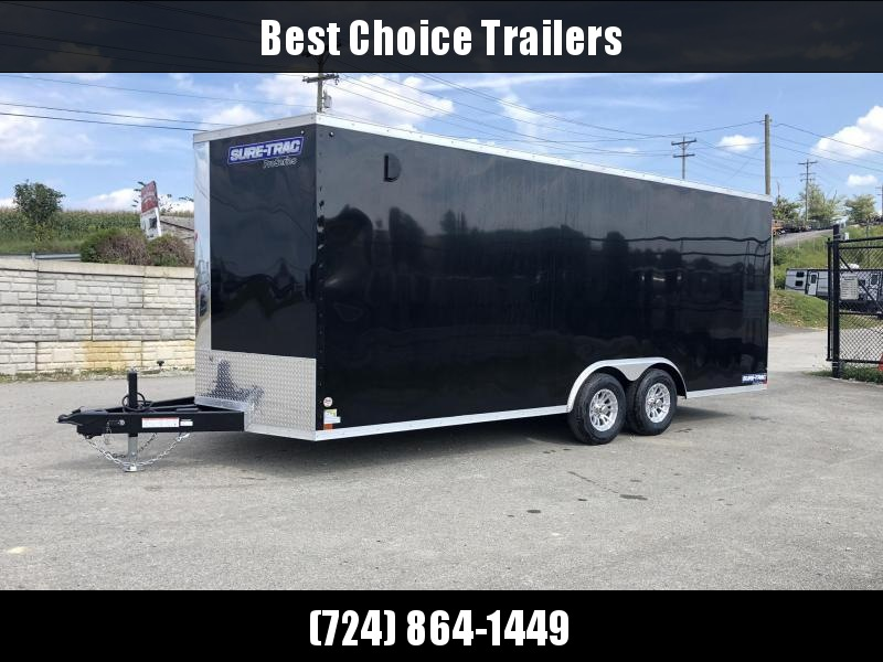 "2020 Sure-Trac 8.5x20' Enclosed Car Trailer 9900# GVW * BLACK * 7000# DROP LEG JACK * SCREWLESS * 48"" DOOR * ALUMINUM WHEELS"