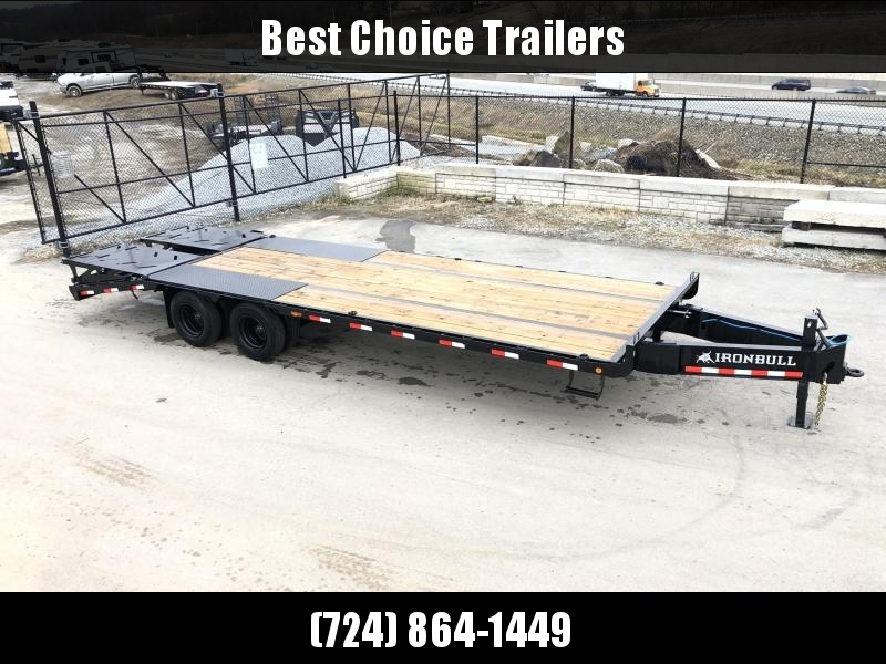"2020 Ironbull 102x21+5' Pintle Beavertail Flatbed Deckover 29990# GVW * 15000# DEXTER'S * FULL WIDTH RAMPAGE RAMPS * PIERCED FRAME * UNDER FRAME BRIDGE * 17.5"" RUBBER * MUD FLAPS"