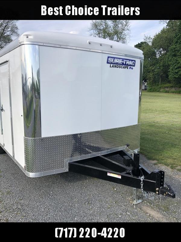 "2020 Sure-Trac 8.5x18' Landscape Pro Enclosed Trailer 9900# GVW * WHITE EXTERIOR * 2X6"" PLANK FLOOR * EXTENDED TONGUE * 5200# TORSION * INTEGRATED KNIFE EDGE * STEEL WORKBENCH * EXTENDED TONGUE * ADJUSTABLE COUPLER * DROP LEG JACK * HD GUSSETS/REINFORCEME"