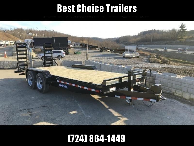 "2020 Sure-Trac 7x20' Equipment Trailer 16000# GVW * 8000# AXLE UPGRADE * HD 4"" CHANNEL STAND UP RAMPS W/ SPRING ASSIST * 17.5"" 16-PLY RUBBER * 3 3/8"" BRAKES * 8"" TONGUE * HD COUPLER * 12K JACK * RUBRAIL/STAKE POCKETS/D-RINGS * SPARE MOUNT"