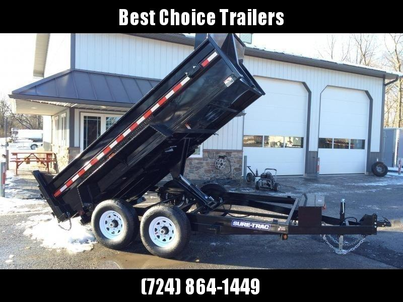 2019 Sure-Trac 7x12' Dump Trailer 12000# GVW * SCISSOR HOIST * FRONT/REAR BULKHEAD * INTEGRATED KEYWAY * 2' SIDES * UNDERBODY TOOL TRAY * ADJUSTABLE COUPLER * 110V CHARGER * UNDERMOUNT RAMPS * COMBO GATE * 7K DROP LEG JACK * CLEARANCE