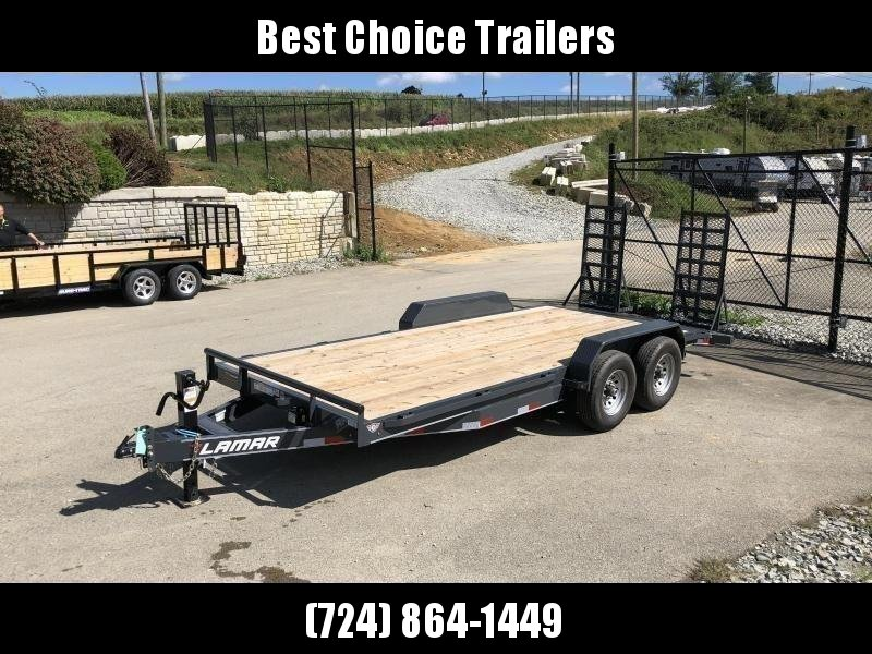 2020 Lamar 7x18' Equipment Trailer 14000# GVW * DELUXE OVERWIDTH RAMPS W/ HEAVY MESH * CHARCOAL POWDERCOAT * RUBRAIL/STAKE POCKETS/PIPE SPOOLS/D-RINGS * REM FENDERS * 12K JACK * CAST COUPLER * SPRING ASSIST * COLD WEATHER HARNESS * DIA PLATE DOVETAIL