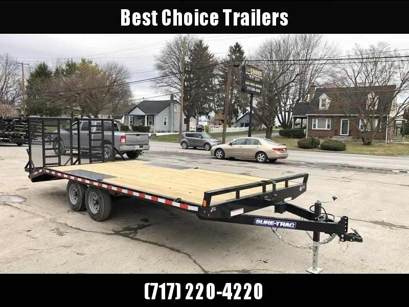 2020 Sure-Trac 102x20 Beavertail Deckover Trailer 9900# GVW * HD SPLIT GATE + SPRING ASSIST * TUBE SIDE RAIL + CROSSMEMBERS * RUBRAIL/STAKE POCKETS/D-RINGS * SPARE MOUNT * ADJUSTABLE COUPLER * DROP LEG JACK
