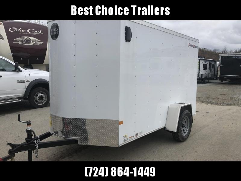 "2020 Wells Cargo 6x12' Fastrac Enclosed Cargo Trailer 2990# GVW * WHITE EXTERIOR * RAMP DOOR * V-NOSE * 1 PC ROOF * 16"" O.C. WALLS * BULLET LED'S"