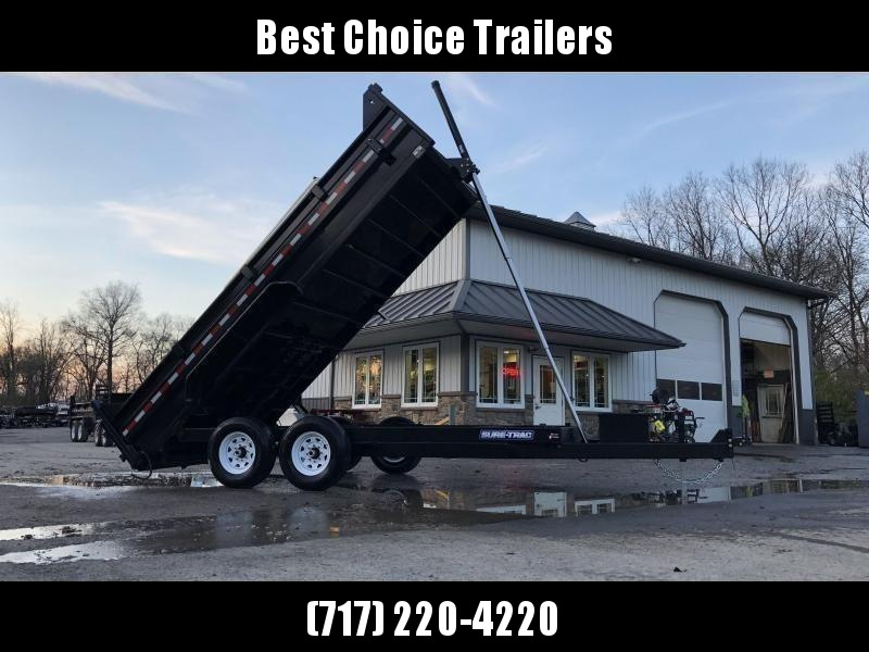 "2020 Sure-Trac 7x16' Dump Trailer 14000# GVW * TARP KIT * OVERSIZE 120"" TELESCOPIC HOIST * EXTENDED TONGUE * OVERSIZE TOOLBOX * FRONT/REAR BULKHEAD * INTEGRATED KEYWAY * 2' SIDES * UNDERBODY TOOL TRAY * ADJUSTABLE COUPLER * COMBO GATE"