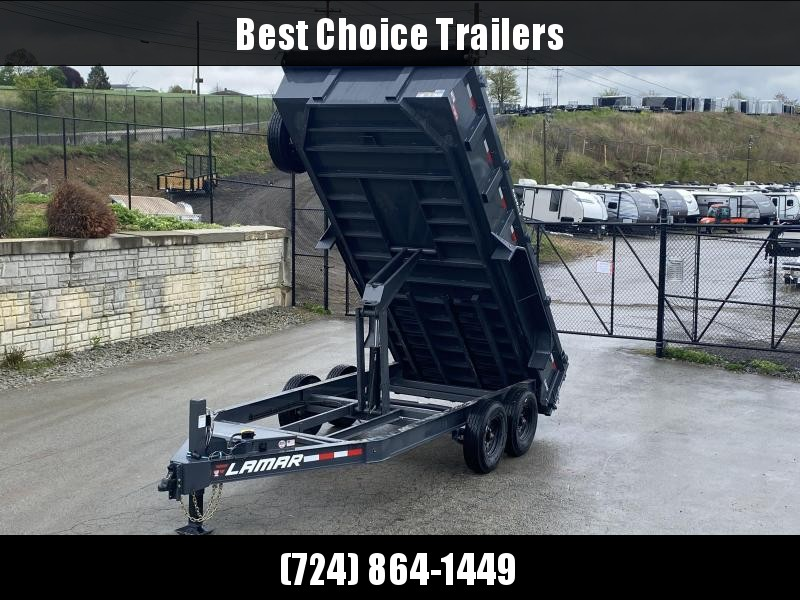 "USED 2019 Lamar 7x16' Dump Trailer 14000# GVW * HYDRAULIC JACK * OIL BATH HUBS * REAR JACKSTANDS * 14-PLY TIRES * 12"" O.C. C/M * 7GA FLOOR * TARP KIT * SCISSOR HOIST * 12K JACK * CHARCOAL * RIGID RAILS * HD COUPLER * NESTLED I-BEAM FRAME 28"" H * 3-WAY GAT"