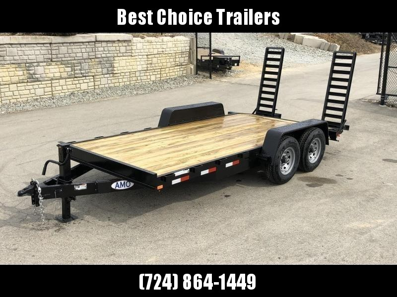 """2019 AMO 7x16' Equipment Trailer 12000# GVW * STAND UP RAMPS * BEAVERTAIL * STACKED 6"""" CHANNEL TONGUE/FRAME * 12K DROP LEG JACK * REMOVABLE FENDERS * CLEARANCE"""