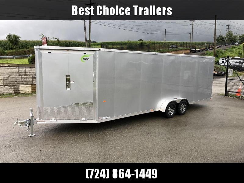 2020 Neo 7x28' Aluminum Enclosed All-Sport Trailer * 7' HEIGHT - UTV PKG * SILVER * FRONT RAMP * LOADED * UTV * ATV * Motorcycle * Snowmobile