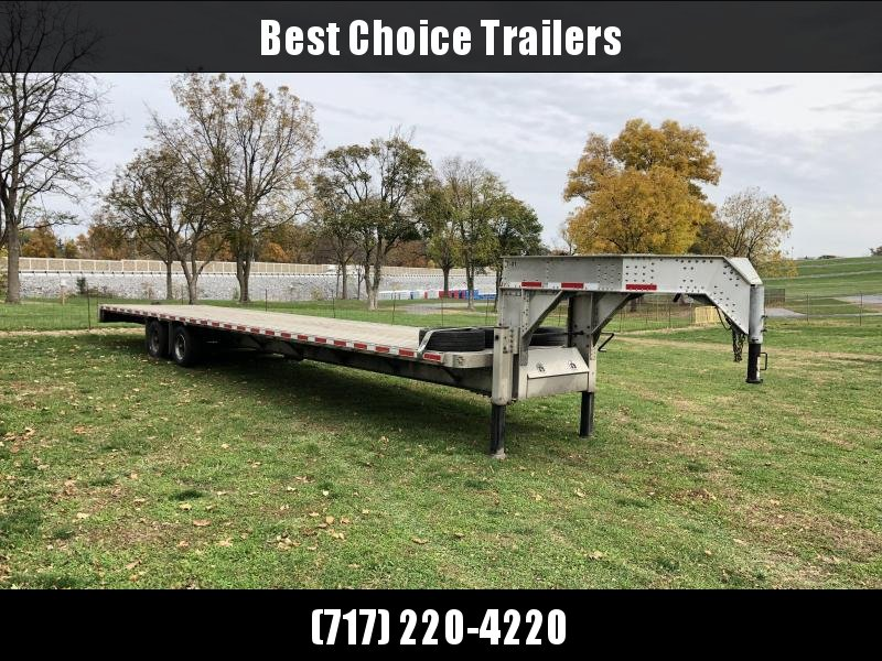 USED 2017 Crossman 102x40' Aluminum Gooseneck Flatbed Deckover Trailer 25990# GVW * DEXTER AXLES * EOH DISC BRAKES * SUPER SINGLES * 4 SPARE TIRES * ONLY 7100# EMPTY! * EXTRUDED ALUMINUM FLOOR * LOTS OF EXTRAS * VERY WELL BUILT