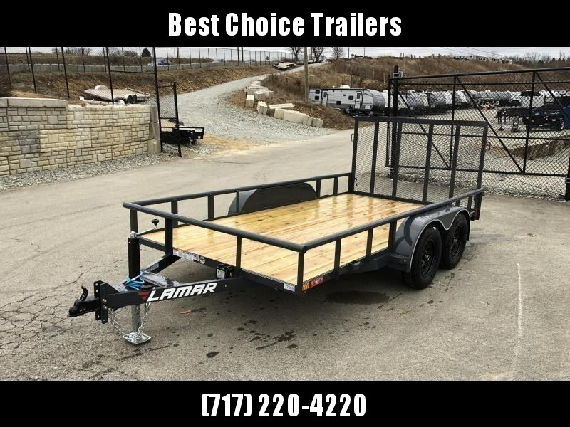 2020 Lamar 7x14' Utility Trailer 7000# GVW DELUXE * PIPE TOP * TUBE GATE * DROP LEG JACK * ADJUSTABLE COUPLER * CHARCOAL W BLACK WHEELS * SPRING ASSIST * FOLD IN GATE