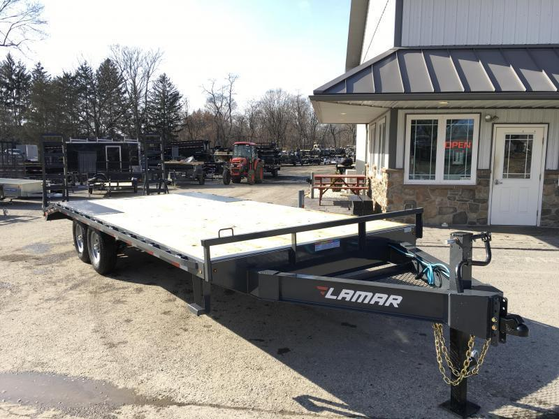 2020 Lamar F8 102x20' Beavertail Deckover Trailer 14000# GVW * STAND UP RAMPS  * CHARCOAL