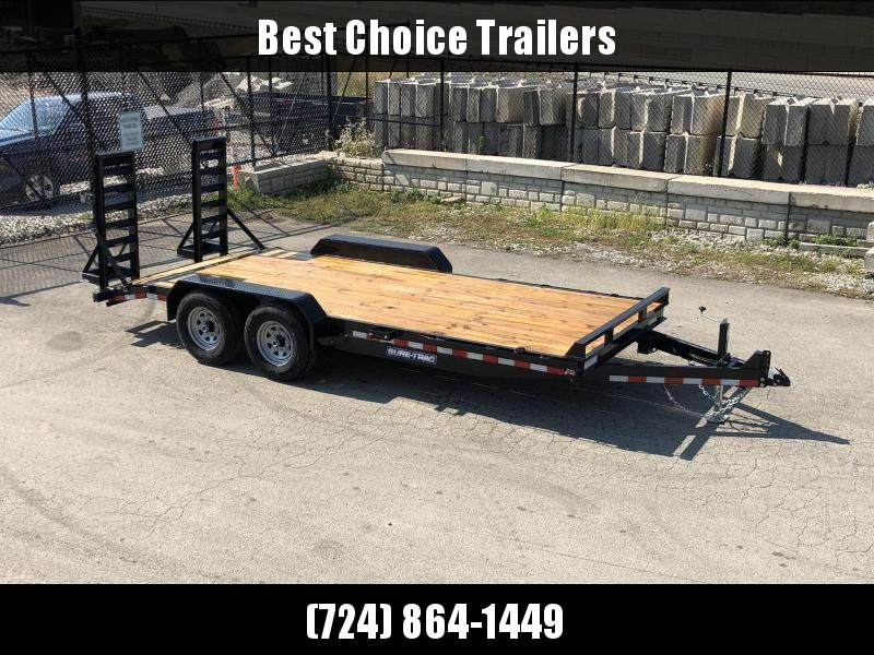 """2020 Sure-Trac 7x18' Equipment Trailer 14000# GVW * 4"""" CHANNEL RAMPS * RUBRAIL/STAKE POCKETS/D-RINGS * HD FENDERS * ADJUSTABLE CAST COUPLER * SPARE MOUNT * SEALED HARNESS"""