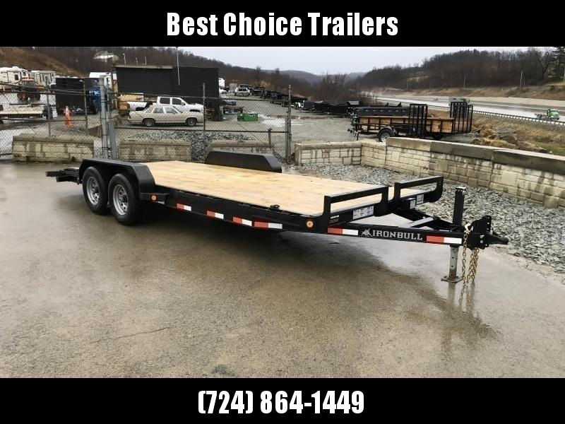"2020 Ironbull 7x18' Wood Deck Car Hauler Trailer 9990# GVW * OVERWIDTH RAMPS * 16"" O.C. FLOOR * CHANNEL C/M * RUBRAIL/STAKE POCKETS/PIPE SPOOLS/D-RINGS * CLEARANCE"