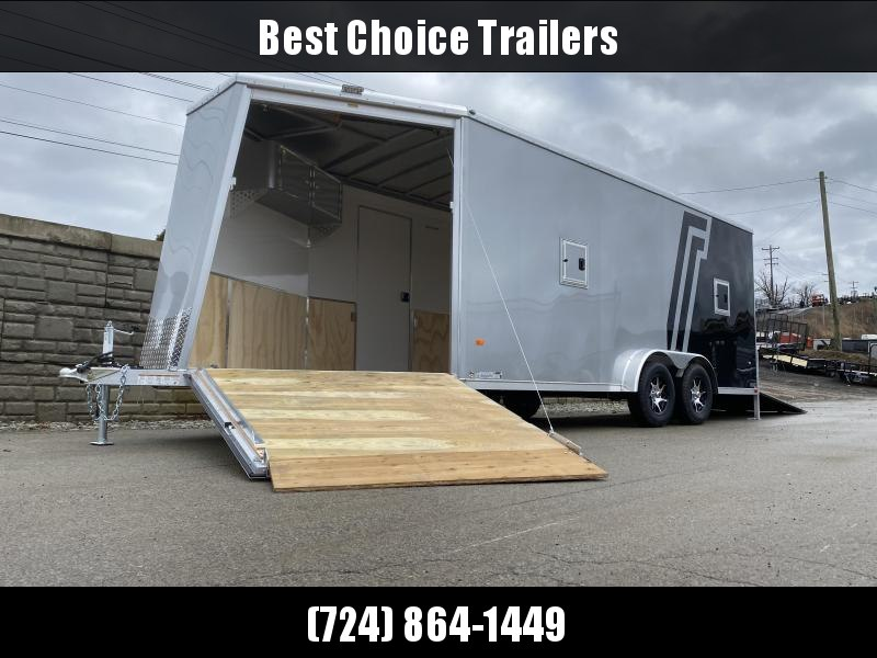 "2020 Neo 7.5x23' NASX Aluminum Enclosed All-Sport Trailer 7000# GVW * 7' HEIGHT UTV PKG * BLACK/SILVER W/ BRADLEY SLASH * DEXTER TORSION * 7.5' WIDTH * ALUMINUM WALLS W/ SKUFF * SPORT TIE DOWN * 16"" O.C. FLOOR/WALLS * PRO STAB JACKS * UPPER CABINET * ALUM"