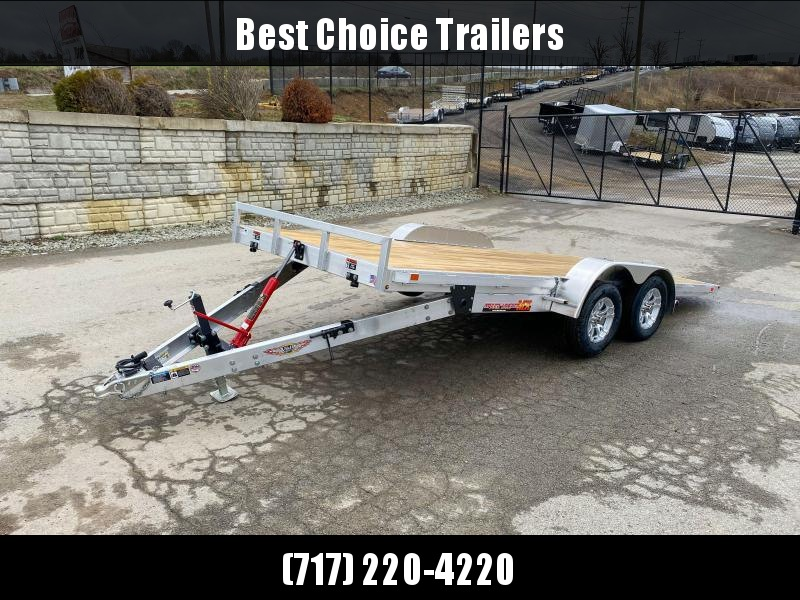 "2020 H&H 7x18' Aluminum Tilt Car Hauler Trailer 7000# GVW * 6"" TONGUE AND FRAME * REMOVABLE FENDERS * ALUMINUM WHEELS * DROP JACK"