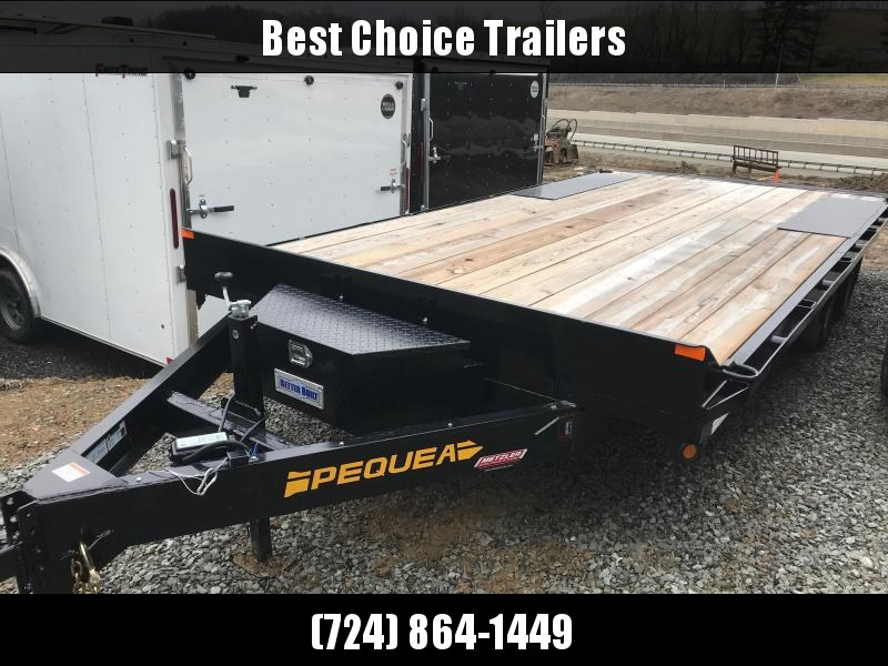 USED 2019 Pequea 102x18+4 Deckover Trailer 9990# GVW * POP UP DOVE * FRONT TOOLBOX * LOTS OF TIE DOWNS