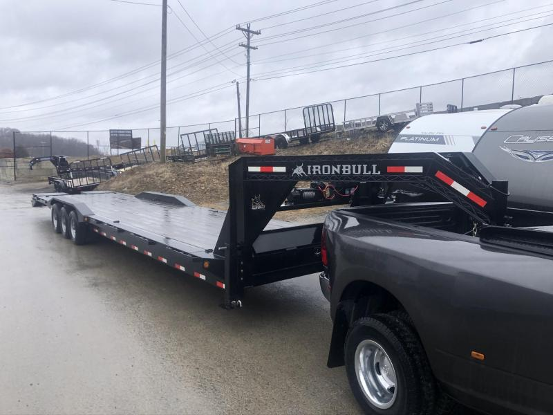 """used 2019 Iron Bull 102x40' Gooseneck Car Hauler 21000# GVW * 102"""" DECK * DRIVE OVER FENDERS * FULL WIDTH RAMPS"""
