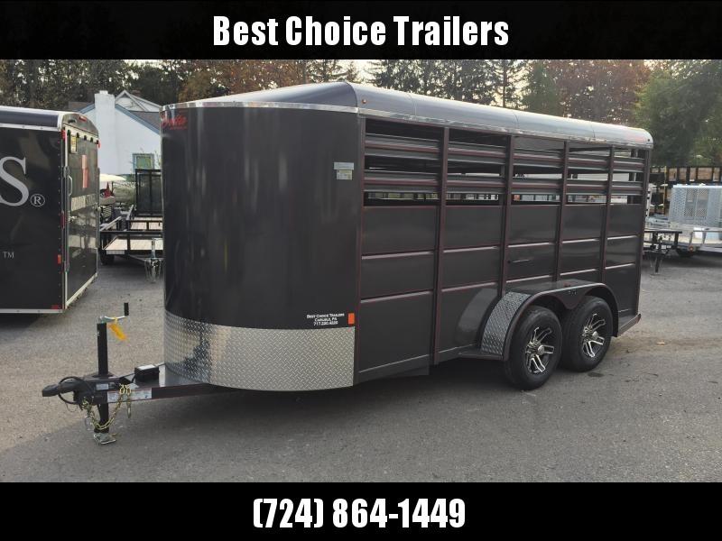 2020 Delta 16' Livestock Trailer 7000# GVW * GREY * CENTER GATE * ESCAPE DOOR * DEXTER