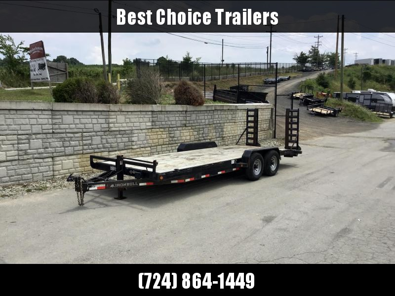"""USED 2018 Ironbull 7x22' Equipment Trailer 14000# GVW * STAND UP RAMPS * REMOVABLE FENDERS * 16"""" O.C. STRUCTURAL CHANNEL C/M * RUBRAIL/STAKE POCKETS/PIPE SPOOLS/D-RINGS * ADJUSTABLE CAST COUPLER * 12K JACK * DEXTER'S"""