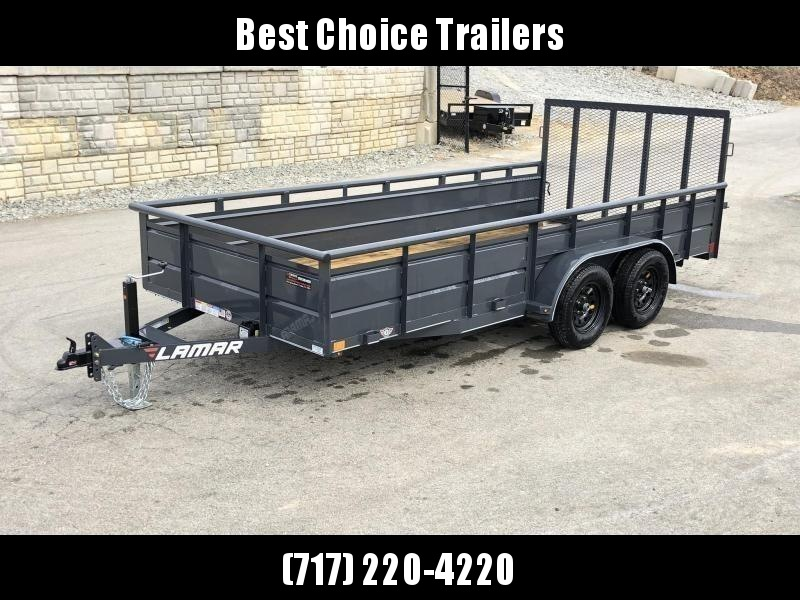 2020 Lamar 7x16' Utility Trailer 7000# GVW * 2' STEEL HIGH SIDES *  CHARCOAL * PIPE TOP * ADJUSTABLE COUPLER * DROP LEG JACK * TIE DOWN RAIL * TUBE GATE