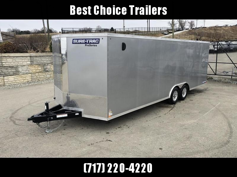 2020 Sure-Trac 8.5x24' Enclosed Car Trailer 9900# GVW * SILVER * 7K DROP LEG JACK