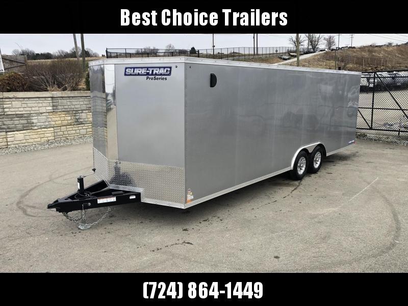 2020 Sure-Trac 8.5x24' Enclosed Car Trailer 9900# GVW * SILVER * 7K DROP LEG JACK