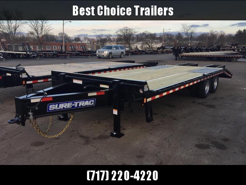 2020 Sure-Trac 102x25+5 Pintle Beavertail Deckover Trailer 22500# GVW * Pierced Frame OAK DECK & RAMPS PAVER TRAILER  * OAK RAMPS/TAIL/DECK * 2 FLIPOVER RAMPS