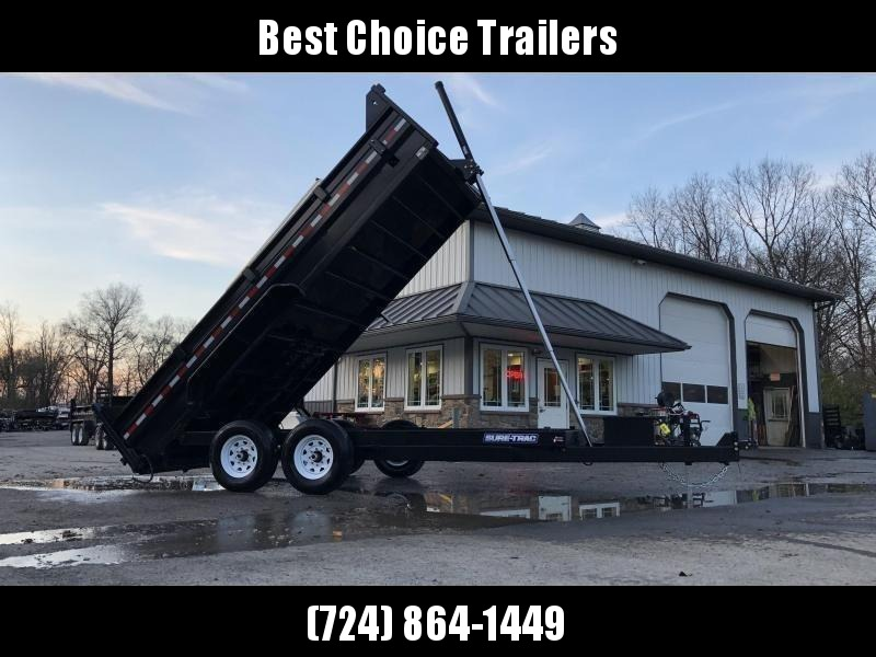 "2020 Sure-Trac 7x16' Dump Trailer 14000# GVW * OVERSIZE 120"" TELESCOPIC HOIST * EXTENDED TONGUE * OVERSIZE TOOLBOX * FRONT/REAR BULKHEAD * INTEGRATED KEYWAY * 2' SIDES * UNDERBODY TOOL TRAY * ADJUSTABLE COUPLER * 110V CHARGER * COMBO GATE"