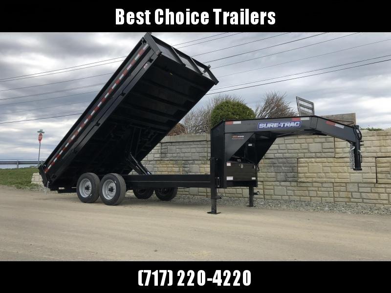 2019 Sure-Trac 8x16' HD Gooseneck Deckover Dump Trailer 16000# GVW * 8000# AXLE UPGRADE * FOLD DOWN SIDES