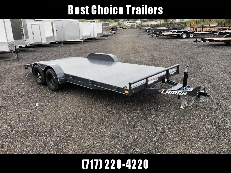 "2020 Lamar 7x18 7000# Wood Deck Car Hauler Trailer * 11GA STEEL DECK * ADJUSTABLE COUPLER * DROP LEG JACK * REMOVABLE FENDERS * EXTRA STAKE POCKETS * CHARCOAL * 4 D-RINGS * 5"" CHANNEL FRAME * COLD WEATHER HARNESS * REAR RAMPS"