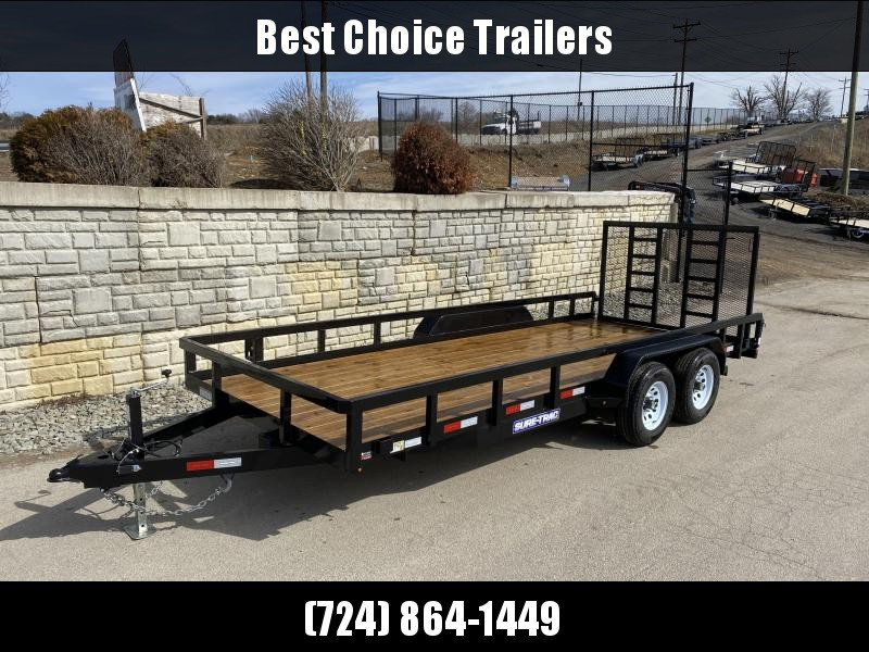 """USED 2019 Sure-Trac 7x18 Commercial Tube Top Utility Landscape Trailer 9900# GVW * PROFESSIONAL LANDSCAPE SERIES * HD REINFORCED GATE * 5"""" TONGUE & FRAME * 7K JACK * 2X3"""" TUBE TOP RAIL"""