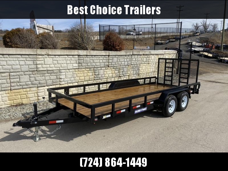 "USED 2019 Sure-Trac 7x18 Commercial Tube Top Utility Landscape Trailer 9900# GVW * PROFESSIONAL LANDSCAPE SERIES * HD REINFORCED GATE * 5"" TONGUE & FRAME * 7K JACK * 2X3"" TUBE TOP RAIL"
