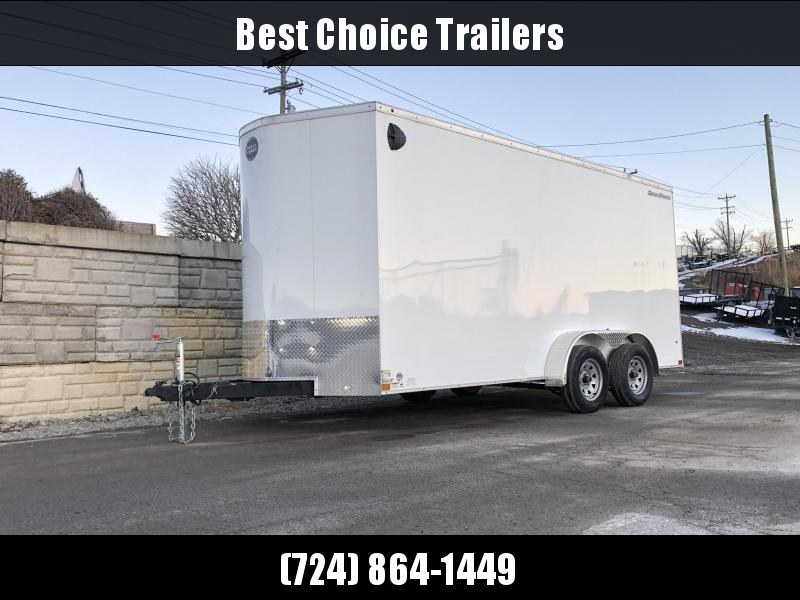 2019 Wells Cargo 7x16' Road Force Enclosed Cargo Trailer 7000# GVW * WHITE * 7' HEIGHT UTV * RAMP DOOR * V-NOSE * .030 * 1 PC ALUM ROOF * TUBE STUDS * SCREWLESS * ARMOR GUARD