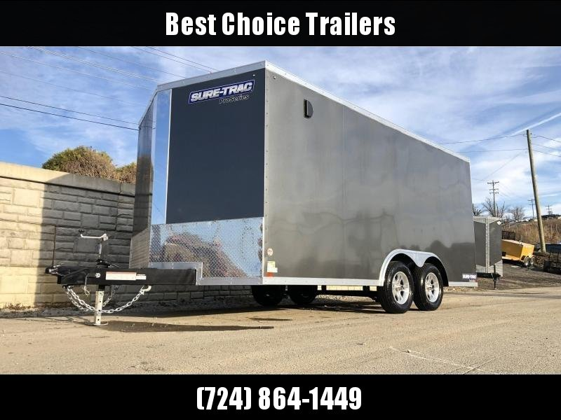 "2020 Sure-Trac 8.5x16' Pro Series Enclosed Car Hauler Trailer 7000# GVW * CHARCOAL EXTERIOR * V-NOSE * RAMP * .030 SCREWLESS EXTERIOR * ALUMINUM WHEELS * 1 PC ROOF * 6"" FRAME * 16"" O.C. C/M * PLYWOOD * TUBE STUDS * BEAVERTAIL * 48"" RV DOOR * D-RINGS * 7K"