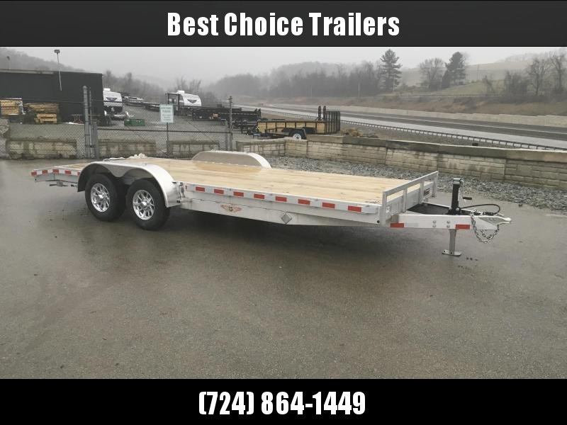 "2018 H&H 7x18' Aluminum Car Trailer 9990# GVW * TORSION DROP AXLES * SWIVEL D-RINGS * EXTRA STAKE POCKETS  * ALUMINUM WHEELS * HEAVY DUTY 8"" FRAME * CLEARANCE"