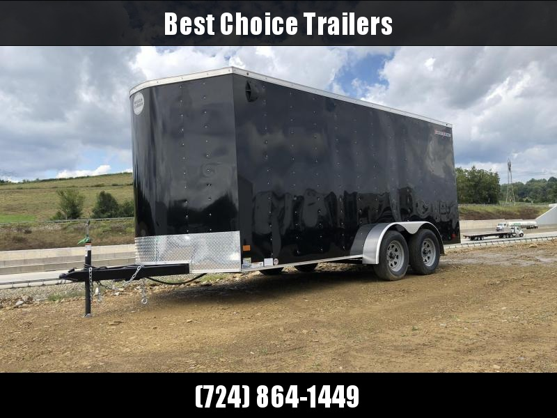 """2020 Wells Cargo 7x16' Fastrac DELUXE Enclosed Cargo Trailer 7000# GVW * BLACK EXTERIOR * RAMP DOOR * V-NOSE * .030 EXTERIOR * 6'6"""" HEIGHT * TUBE STUDS * 3/8"""" WALLS * 1 PC ROOF * 16"""" O.C. WALLS * BULLET LED'S"""