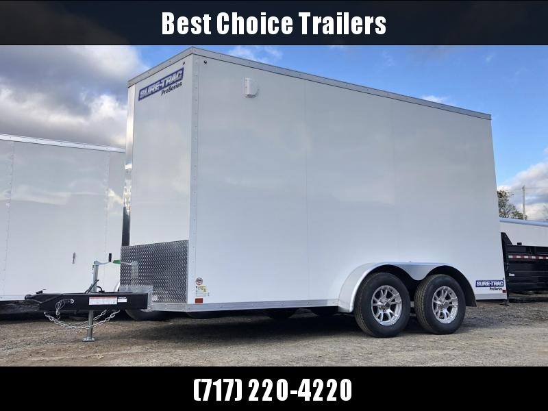 """2020 Sure-Trac 7x14' Pro Series Enclosed Cargo Trailer 7000# GVW * WHITE EXTERIOR * V-NOSE * RAMP * .030 SCREWLESS EXTERIOR * ALUMINUM WHEELS * 1 PC ROOF * 6'6"""" HEIGHT * 6"""" FRAME * 16"""" O.C. C/M * PLYWOOD * TUBE STUDS"""