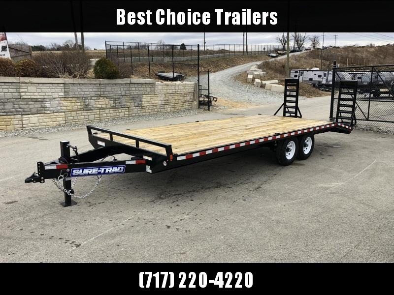 "2020 Sure Trac 20+4' Beavertail Deckover Trailer 15000# * ST102204SDDO-B-150 * 4"" CHANNEL STAND UP RAMPS"
