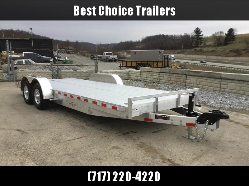 """2018 H&H 7x20' Aluminum Car Trailer 9990# GVW * LOADED * EXTRUDED ALUMINUM FLOOR * TORSION DROP AXLES * SWIVEL D-RINGS * EXTRA STAKE POCKETS * HEAVY DUTY 8"""" FRAME * CLEARANCE"""