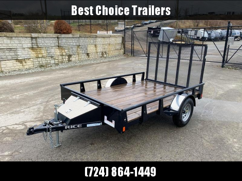 NEW Rice 76x10' Solid Side Utility Landscape Trailer 2990# GVW * PIPE TOP * TUBE GATE * FRONT TOOLBOX * SOLID SIDES * POWDERCOATED * LED'S * RADIALS * CLEARANCE