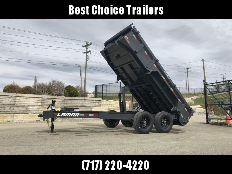 "2020 Lamar 7x14' Dump Trailer 14000# GVW * TARP * 12K JACK * SPARE MOUNT * 7 GAUGE * SCISSOR * CHARCOAL * 14-PLY TIRES * 12"" O.C. CROSSMEMBERS"
