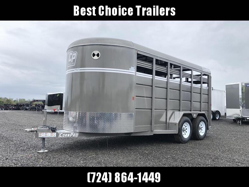 "2020 Corn Pro 16' Livestock Trailer 7000# GVW * BEIGE * TORSION SUSPENSION * DEXTER AXLES * 225/75/R15 8-PLY TIRES * HD FENDERS * CENTER AND REAR SLAM GATES * 4"" CHANNEL TONGUE * URETHANE PAINT * KILN DRIED LUMBER"