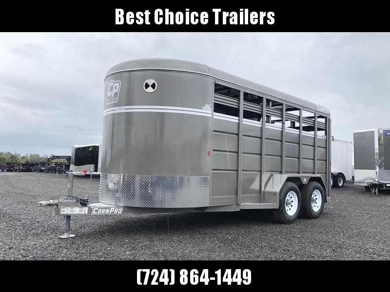 "2020 Corn Pro 16' Livestock Trailer 7000# GVW * BEIGE * TORSION SUSPENSION * DEXTER AXLES * 225/75/R15 8-PLY TIRES * HD FENDERS * CENTER AND REAR SLAM GATES * 4"" CHANNEL TONGUE * URETHANE PAINT * KILN DRIED LUMBER"
