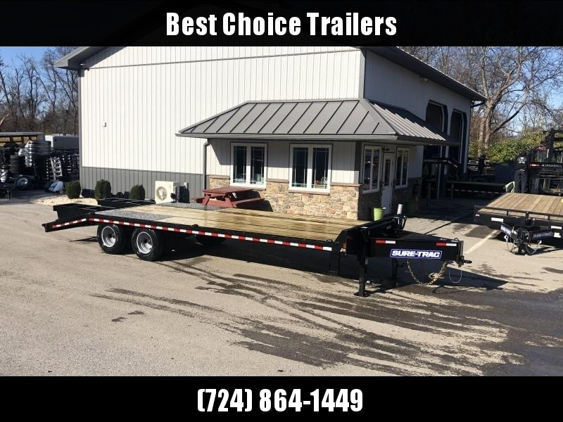 "2020 Sure-Trac 102x25' HD Beavertail Deckover Trailer 25900# GVW * DEXTER 12K AXLES * INTEGRATED TOOLBOX * DUAL JACKS * FLIPOVER RAMPS + SPRING ASSIST * 12"" I-BEAM * PIERCED FRAME * RUBRAIL/STAKE POCKETS/PIPE SPOOLS/10 D-RINGS * CROSS TRAC BRACING"
