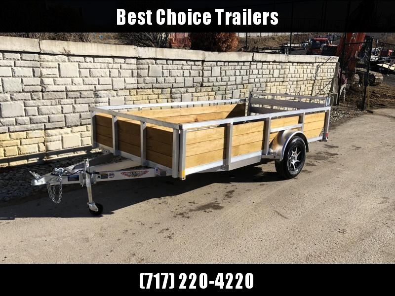 "2019 H&H 76""x12' Aluminum Wood High Side Utility Landscape Trailer 2990# GVW * BI FOLD GATE * ALUMINUM WHEELS * CLEARANCE"