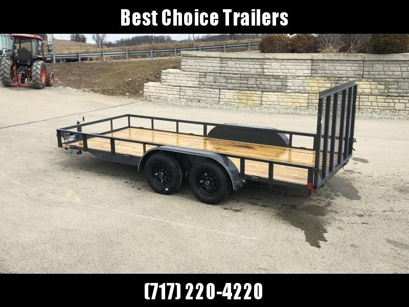 "2020 Lamar 7x14' Utility Landscape Trailer 7000# GVW * CHARCOAL * HD GATE/2X2"" TUBE C/M + SPRING ASSIST * CAST COUPLER * COLD WEATHER HARNESS * 4"" CHANNEL TONGUE * STAKE POCKETS * SWIVEL JACK * TUBE BUMPER * TEARDROP FENDERS * BULLET LED'S"