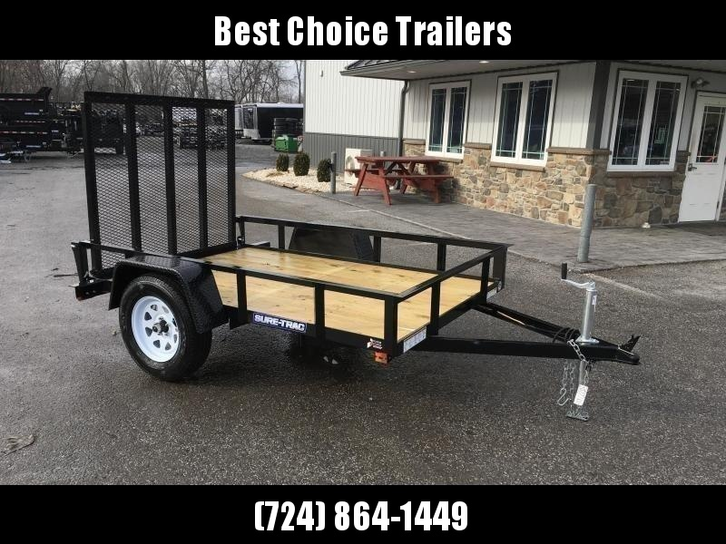 """2020 Sure-Trac 5x8' Utility Landscape Trailer 2990# GVW * 2X2"""" TUBE GATE C/M + FOLD FLAT * TOOLESS GATE REMOVAL * CHANNEL TONGUE * REAR BOARD RETAINER * HD FENDERS * ZINC JACK * RADIAL TIRES * POWDERCOATED"""