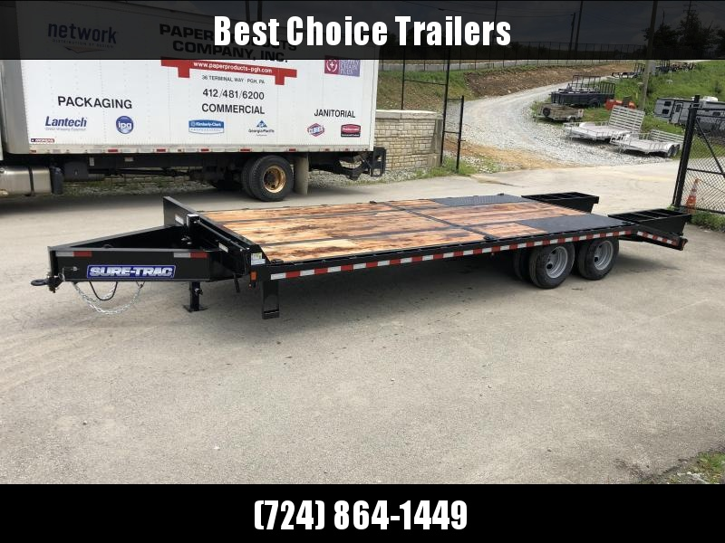 "2019 Sure-Trac 102x25' HD Beavertail Deckover Trailer 22500# GVW * PAVER SPECIAL * OAK BEAVERTAIL/DECK/RAMPS * DEXTER AXLES * FLIPOVER RAMPS * 12"" I-BEAM * PIERCED FRAME * (10) 1"" D-RINGS * CROSS TRAC BRACING * CLEARANCE"